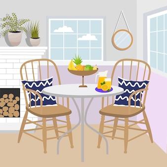 고전적인 스타일의 식탁. 아늑한 방 인테리어 그림