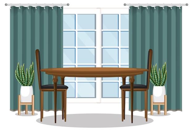 창과 녹색 커튼이 있는 식탁 세트