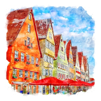 Dinkelsbuhl 독일 수채화 스케치 손으로 그린 그림