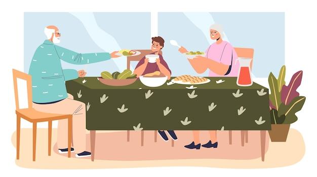 Ужин в доме бабушки и дедушки: мальчик ест еду, сидя за столом с бабушкой и дедушкой. ребенок навещает бабушку и дедушку. плоские векторные иллюстрации шаржа