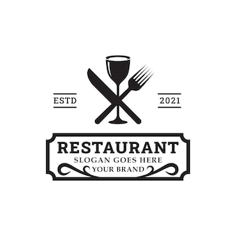 Dinner classic logos with spoon fork and knife for restaurant bar bistro vintage retro logo design vector template