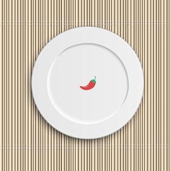Dinner plate on bamboo napkin