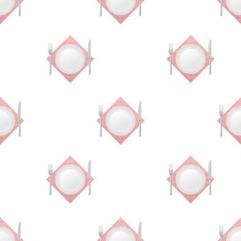 ディナープレート、ナイフ、フォークのパターン。ベクトルストックイラスト。
