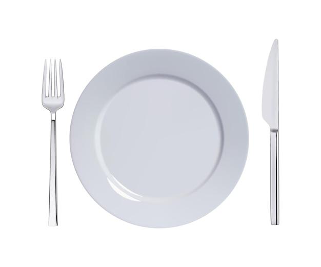 Dinner plate knife and fork.  illustration