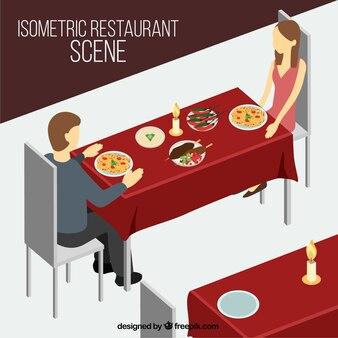아이소 메트릭 스타일의 저녁 식사 레스토랑 장면