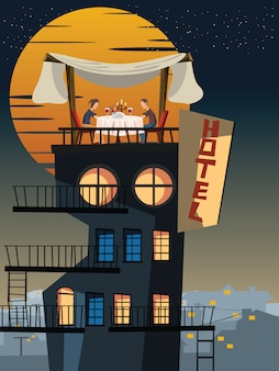 Dinner on a rooftop vector illustration