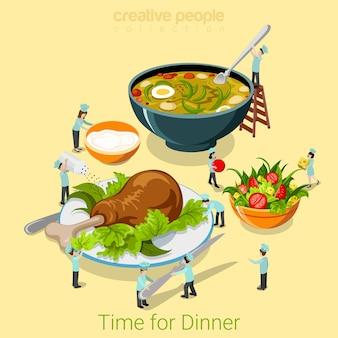 저녁 식사 시간 평면 아이소 메트릭 음식 카페 레스토랑 비스트로 식당 개념 식사 수프 샐러드 닭 다리를 제공하는 마이크로 요리사.