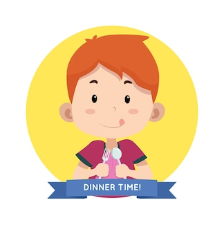 Dinner time label with children character