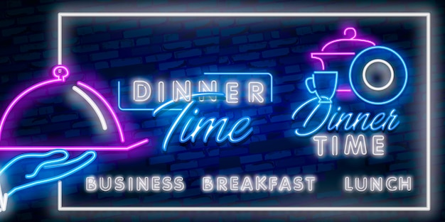 Dinner time neon sign, bright signboard