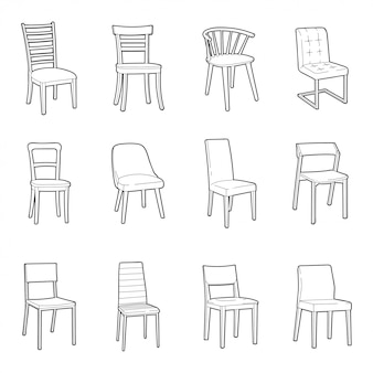 Dinning chair illustration set