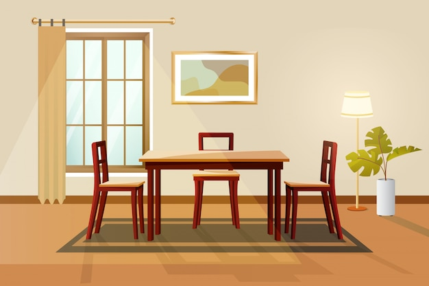 Dinning room interior vector illustration.