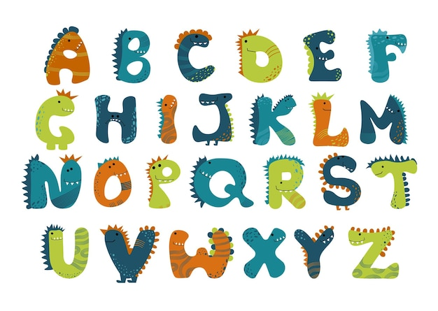 Dino alphabet funny comic letters in cartoon style