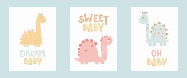 Плакат принцессы динозавра с милой надписью детский простой стиль рисования в пастельных тонах