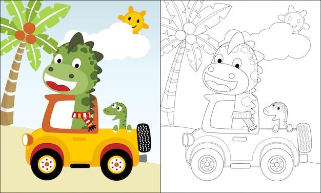 夏休みにトラック上の恐竜漫画 Premiumベクター