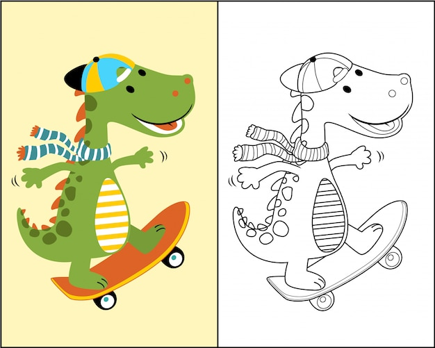 Dino cartoon the skateboarder