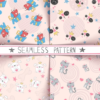 Dino, cat, dog puppy - seamless pattern set