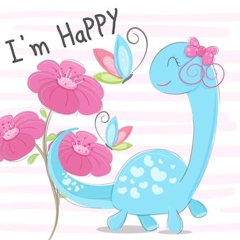 Dino cute hand drawn illustration-vector