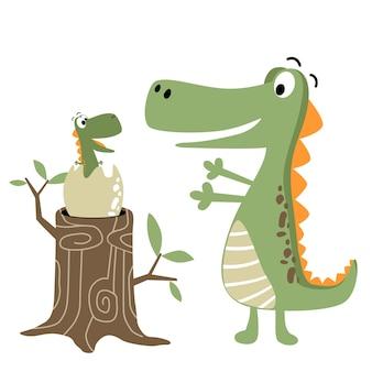 Dino family cartoon vector