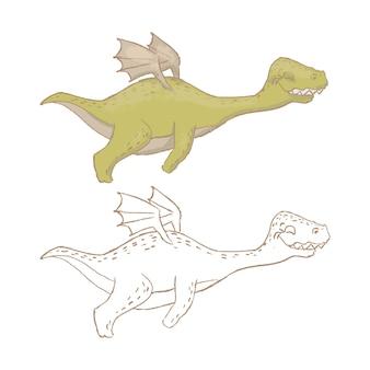 Dino fly先史時代の漫画の獣の手描き