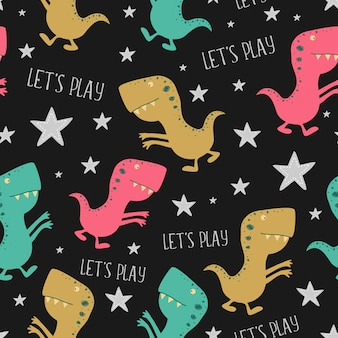 Dino hand drawn seamless pattern for baby and kids