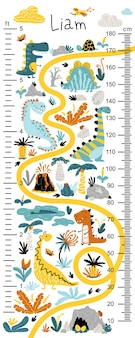 Dino height chart for kids