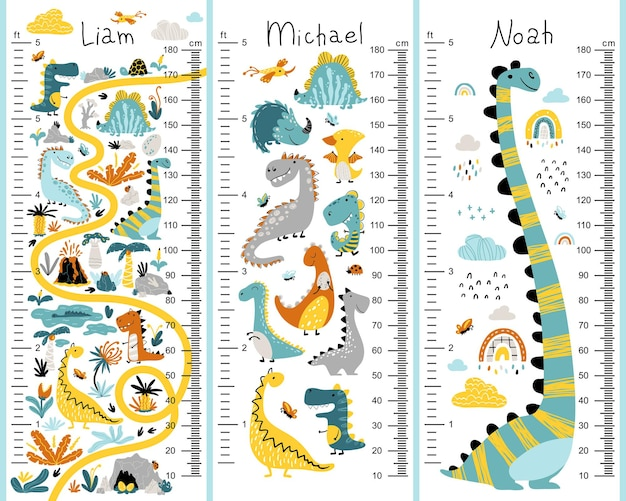 Dino height chart set for kids