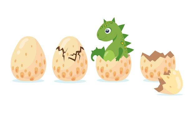 墜落した卵から孵化する恐竜またはドラゴン。フラットイラスト