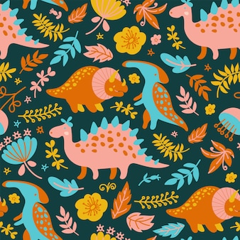 ディノ紙グランジ先史時代の動物のシームレスパターン