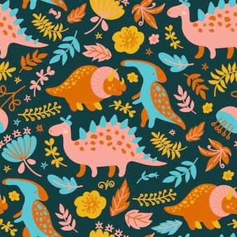 Dino paper grunge prehistoric animals seamless pattern