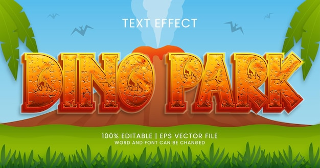 Dino park text, editable text effect style template