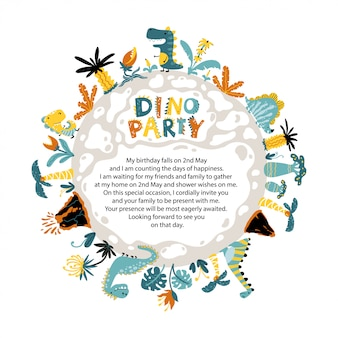 Dino party invitation of a round planet with dinosaurs, volcanoes and tropical fantastic plants.