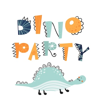 Векторные иллюстрации в мультяшном стиле с надписью dino party.