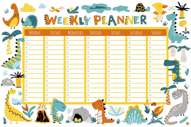 Dino planner for a week