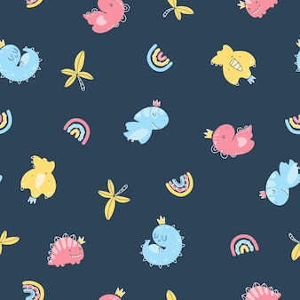 Dino princess seamless pattern. girls dinosaurs in crowns in a simple childish hand-drawn scandinavian style. vector texture for baby clothes, packaging, wallpapers, textiles, fabrics.