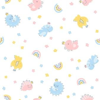 Дино принцесса бесшовные модели. девочки-динозавры в коронах в простом детском рисованном скандинавском стиле. векторные текстуры для детской одежды, упаковки, обоев, текстиля, тканей.