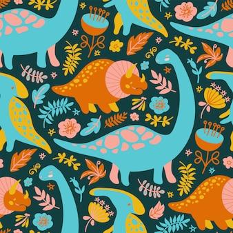 Dino print grunge prehistoric animals seamless pattern