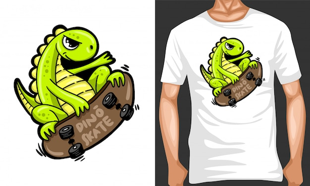 Dino skate cartoon illustration and merchandising design