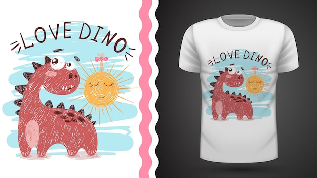 Dino and sun - idea for print t-shirt