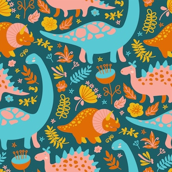Dino textileグランジ先史時代の動物シームレス