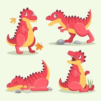 Dino trex character cute set vector illustration
