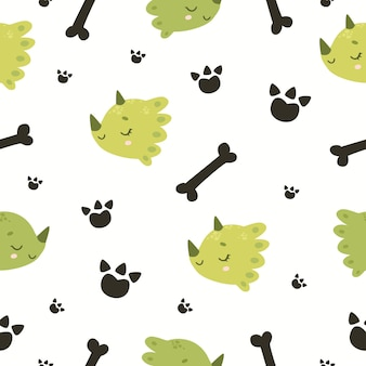공룡과 뼈 원활한 패턴 인쇄 준비