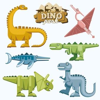 恐竜と先史時代の動物のフラットアイコンが設定されています。テロダクティルティラノサウルストリケラトプスとブロントサウルス、ベクトル図