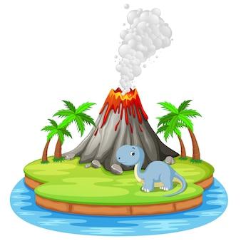 Dinosaur and volcano eruption