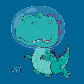 Dinosaur astronaut cartoon.