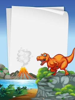 A dinosaur banner template in nature scene Premium Vector