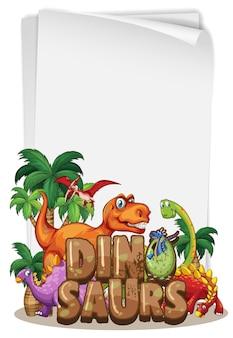 Un modello di banner di dinosauro su sfondo bianco