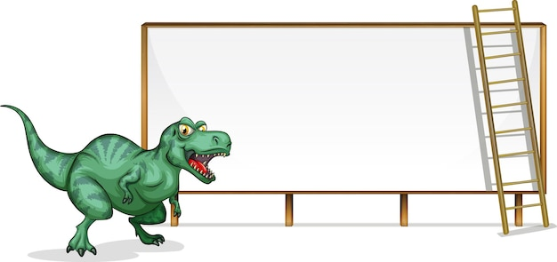 A dinosaur banner template on white background Premium Vector