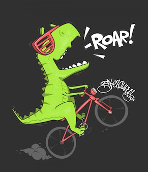 Dinosaur on bicycle.  shirt print .
