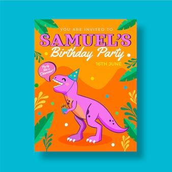 Приглашение на день рождения динозавра рисованной
