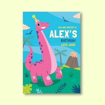 Modello di invito di compleanno di dinosauro